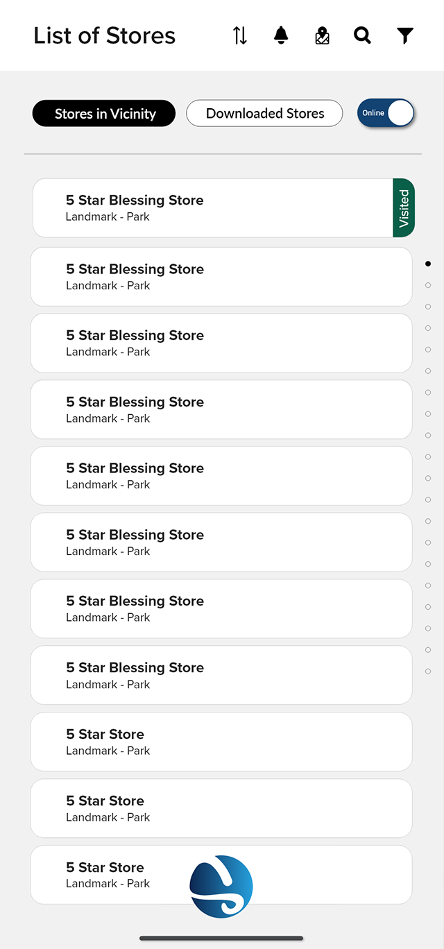 Salesflo Sight List of Stores Demo Screen